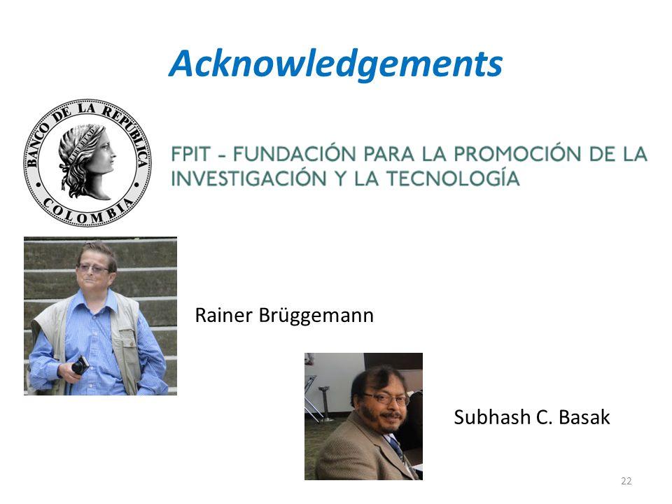 Acknowledgements Rainer Brüggemann Subhash C. Basak 22