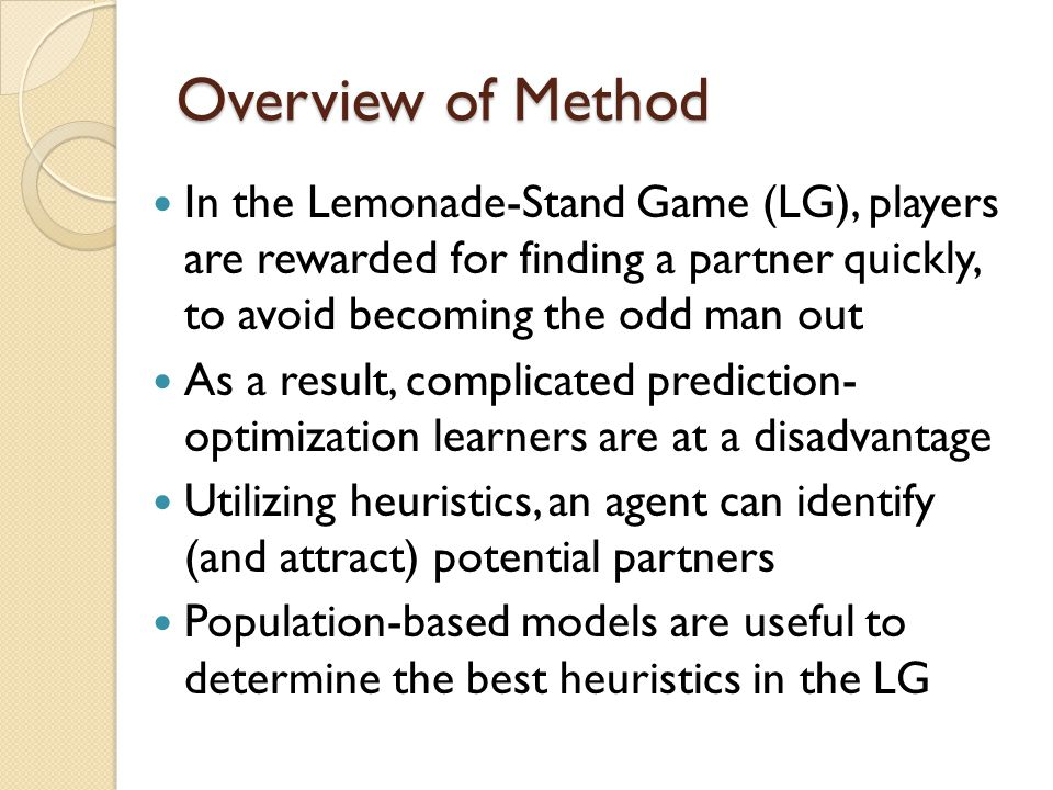 Conclusion Our agent (RL3) contains elements of all three levels, which is not optimal against this population of competitors The model that emerges from LG does predict the outcome fairly well The model predicts that subsequent repetitions would generally move the population up the hierarchy CH has implications for larger games (e.g.