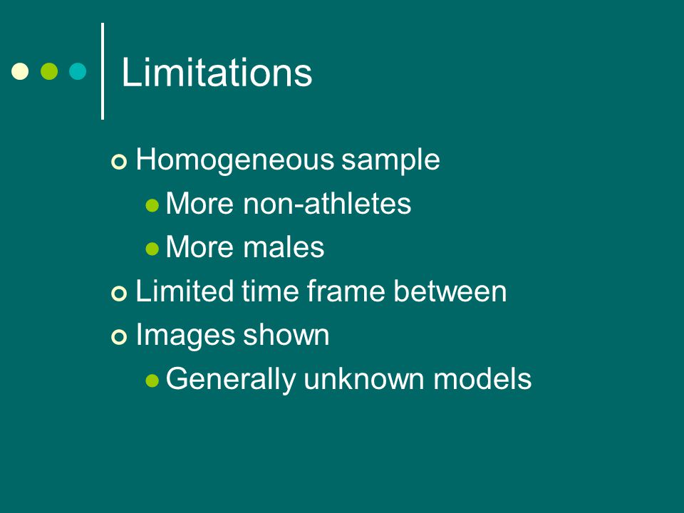 Limitations Homogeneous sample More non-athletes More males Limited time frame between Images shown Generally unknown models