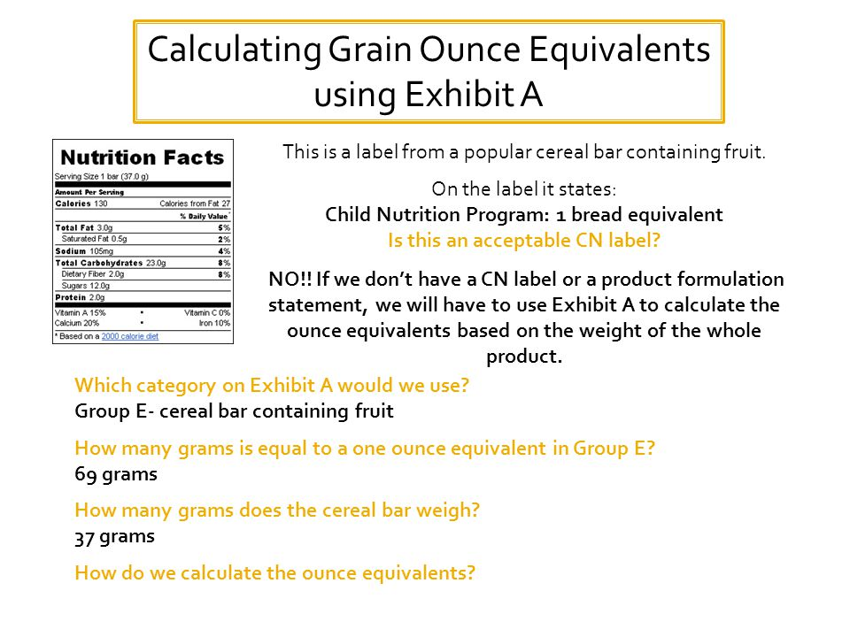 Calculating Grain Ounce Equivalents using Exhibit A This is a label from a popular cereal bar containing fruit.
