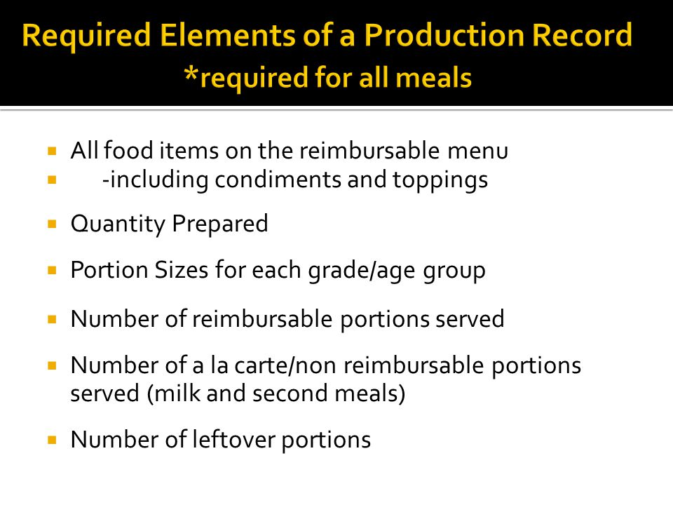 All food items on the reimbursable menu -including condiments and toppings Quantity Prepared Portion Sizes for each grade/age group Number of reimbursable portions served Number of a la carte/non reimbursable portions served (milk and second meals) Number of leftover portions
