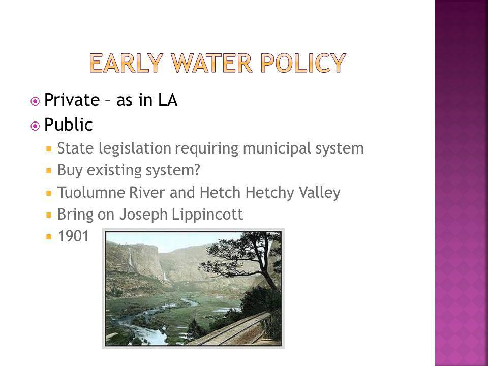 Private – as in LA Public State legislation requiring municipal system Buy existing system? Tuolumne River and Hetch Hetchy Valley Bring on Joseph Lip