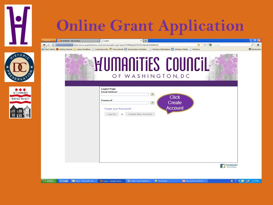 Online Grant Application Click Create Account