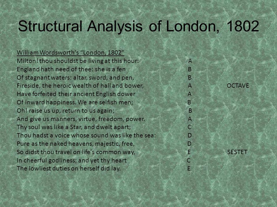 Structural Analysis of London, 1802 William Wordsworths London, 1802 Milton.