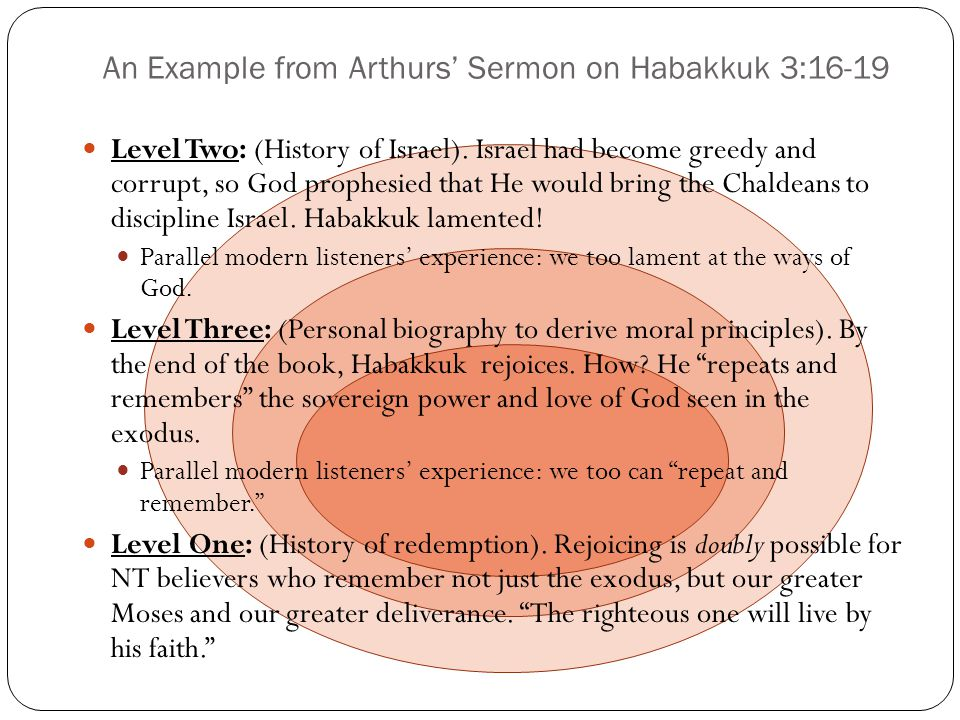 An Example from Arthurs Sermon on Habakkuk 3:16-19 Level Two: (History of Israel). Israel had become greedy and corrupt, so God prophesied that He wou