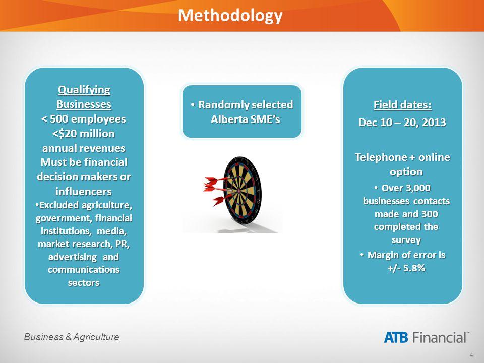 4 Business & Agriculture Methodology Randomly selected Alberta SMEs Randomly selected Alberta SMEs Qualifying Businesses < 500 employees <$20 million