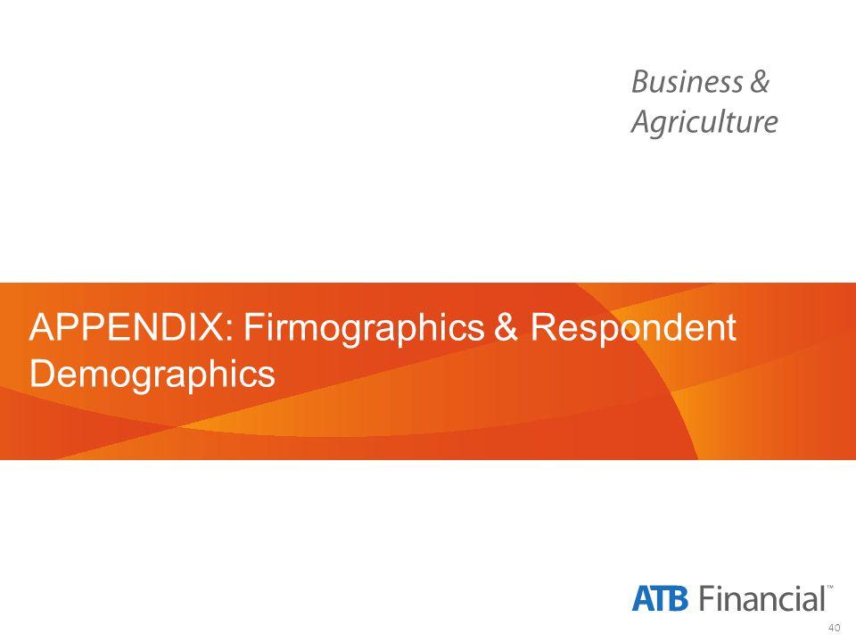 40 APPENDIX: Firmographics & Respondent Demographics