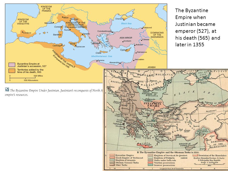 The Byzantine Empire when Justinian became emperor (527), at his death (565) and later in 1355