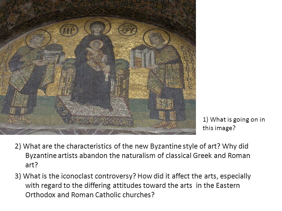 2) What are the characteristics of the new Byzantine style of art.