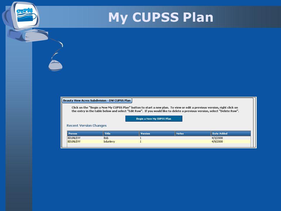 My CUPSS Plan