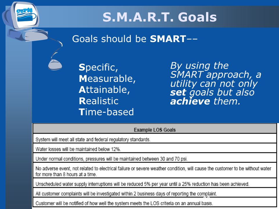 S.M.A.R.T. Goals Specific, Measurable, Attainable, Realistic Time-based By using the SMART approach, a utility can not only set goals but also achieve