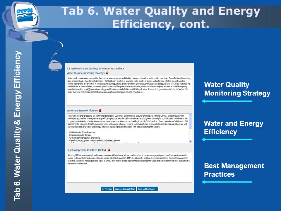 Tab 6. Water Quality and Energy Efficiency, cont. Water Quality Monitoring Strategy Water and Energy Efficiency Best Management Practices Tab 6. Water