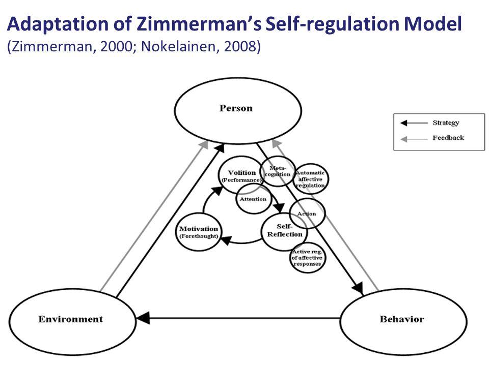 Adaptation of Zimmermans Self-regulation Model (Zimmerman, 2000; Nokelainen, 2008)