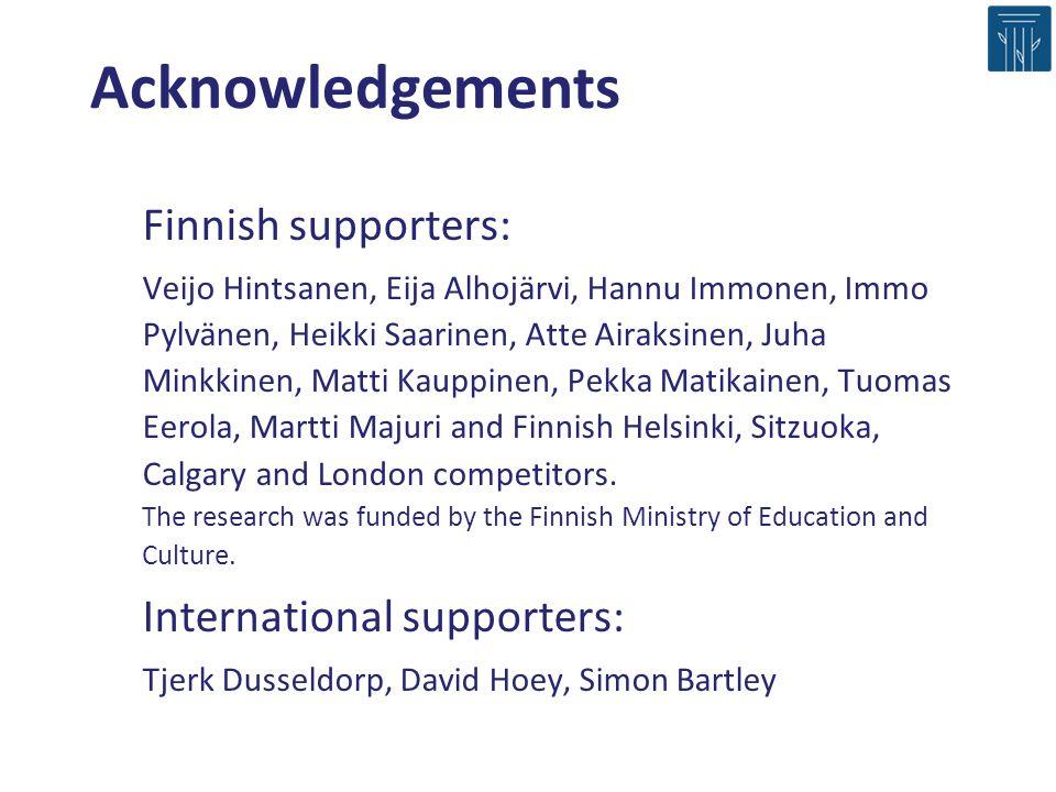 Finnish supporters: Veijo Hintsanen, Eija Alhojärvi, Hannu Immonen, Immo Pylvänen, Heikki Saarinen, Atte Airaksinen, Juha Minkkinen, Matti Kauppinen, Pekka Matikainen, Tuomas Eerola, Martti Majuri and Finnish Helsinki, Sitzuoka, Calgary and London competitors.
