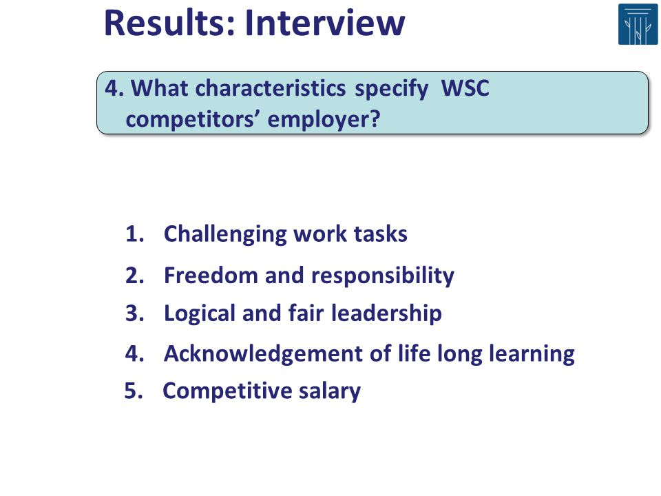 4. What characteristics specify WSC competitors employer? 1.Challenging work tasks 2.Freedom and responsibility 3.Logical and fair leadership 4.Acknow