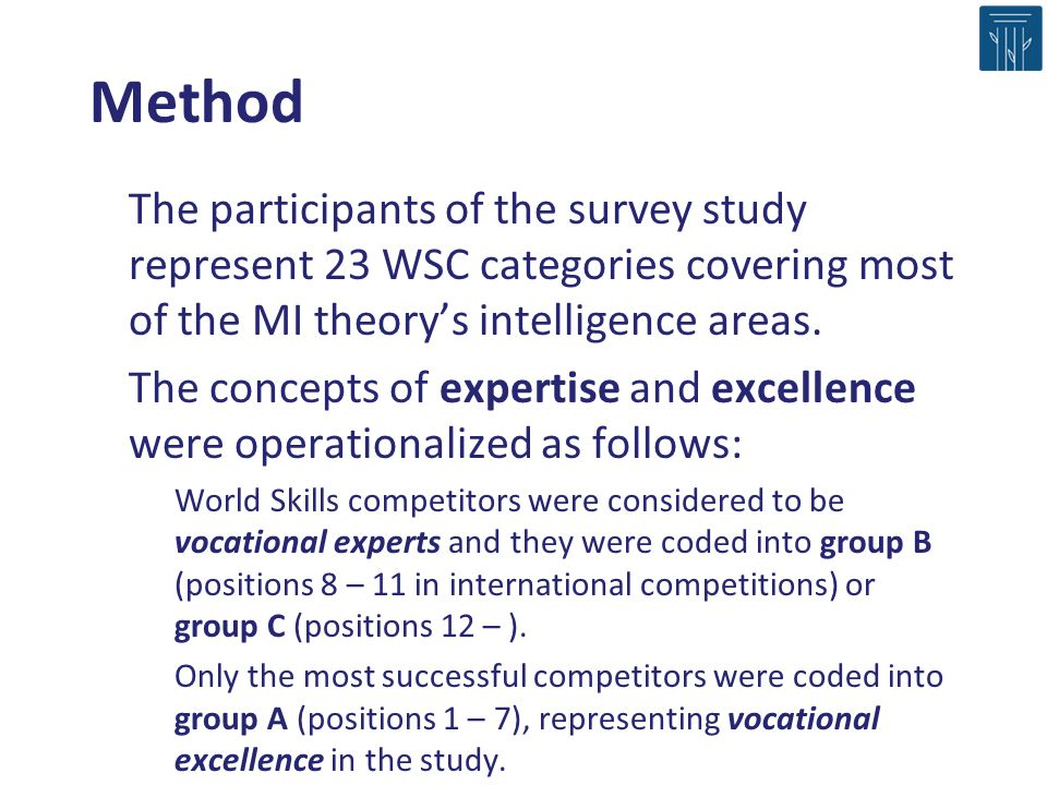 Method The participants of the survey study represent 23 WSC categories covering most of the MI theorys intelligence areas. The concepts of expertise
