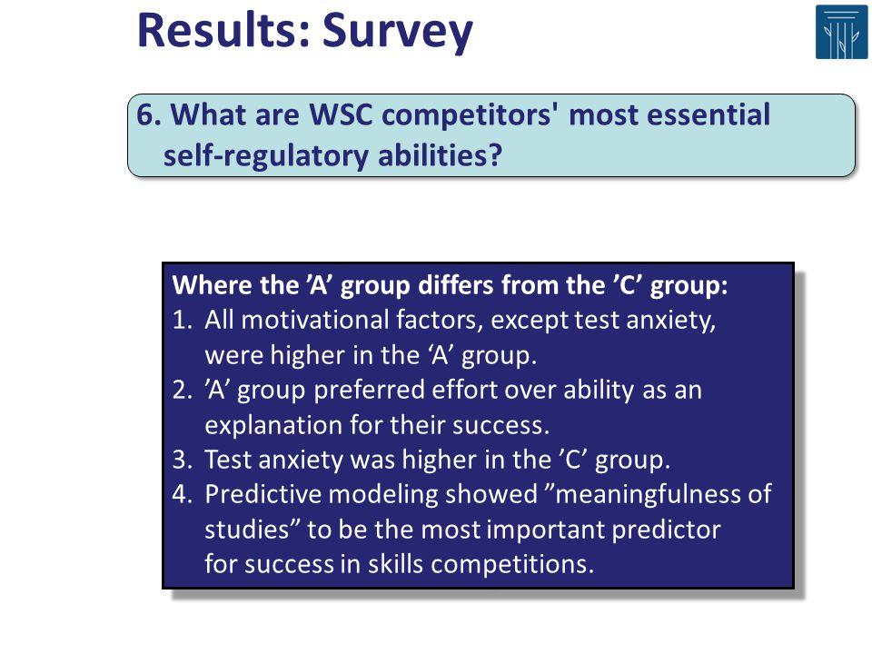 Where the A group differs from the C group: 1.All motivational factors, except test anxiety, were higher in the A group. 2.A group preferred effort ov