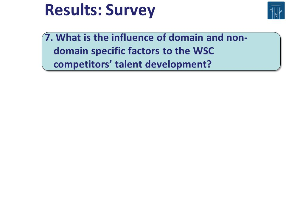 Results: Survey 7. What is the influence of domain and non- domain specific factors to the WSC competitors talent development?