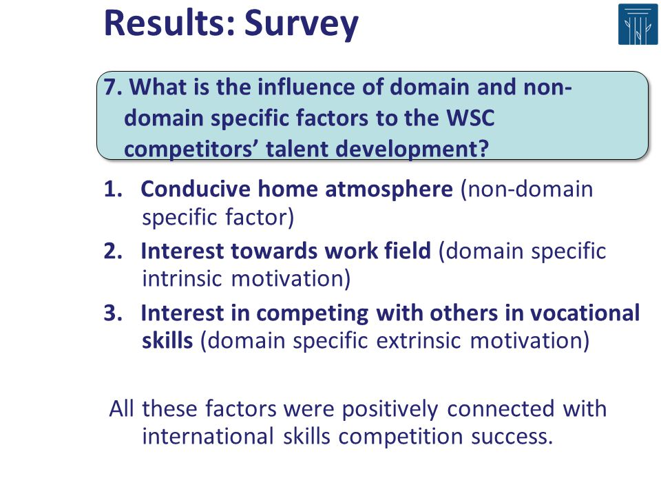 1. Conducive home atmosphere (non-domain specific factor) 2. Interest towards work field (domain specific intrinsic motivation) 3. Interest in competi