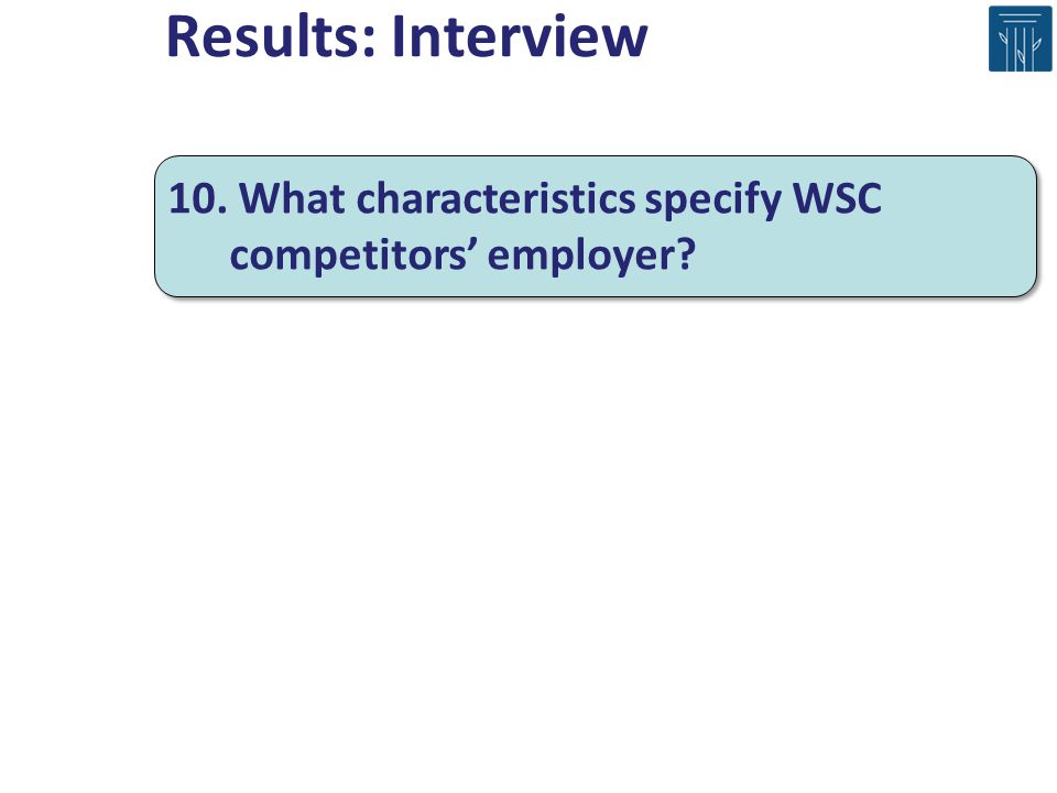 10. What characteristics specify WSC competitors employer? Results: Interview