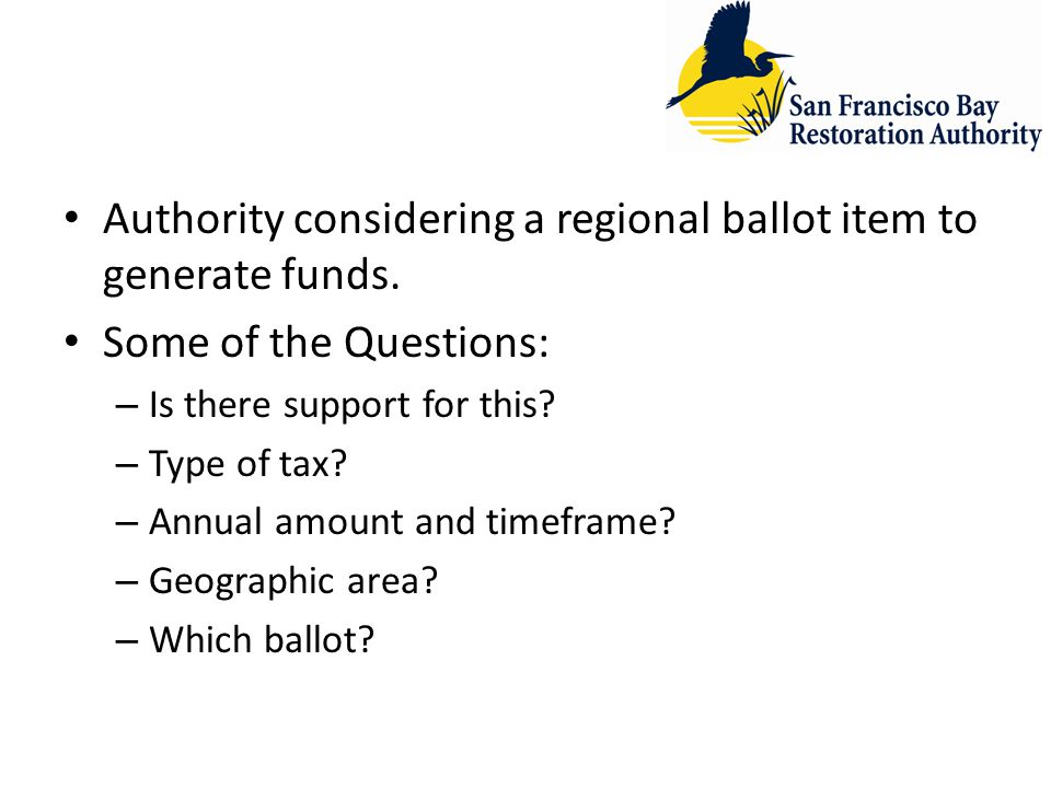 Authority considering a regional ballot item to generate funds.