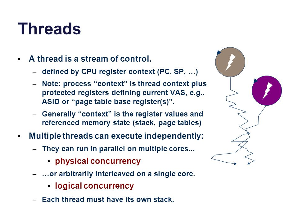 Threads and the kernel Modern operating systems have multi- threaded processes.