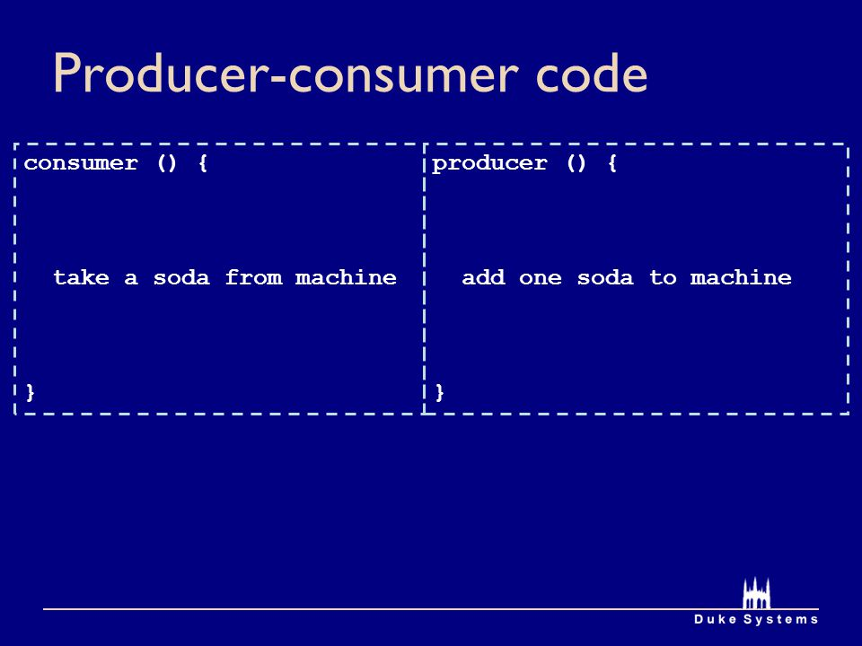 Producer-consumer code producer () { add one soda to machine } consumer () { take a soda from machine }
