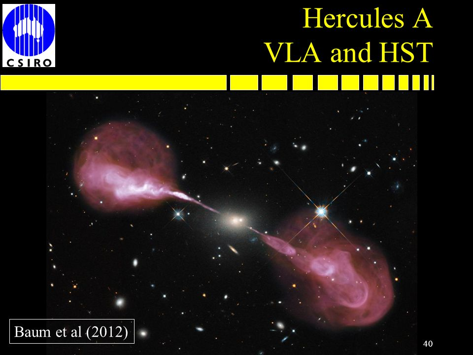 Hercules A VLA and HST 40 Baum et al (2012)