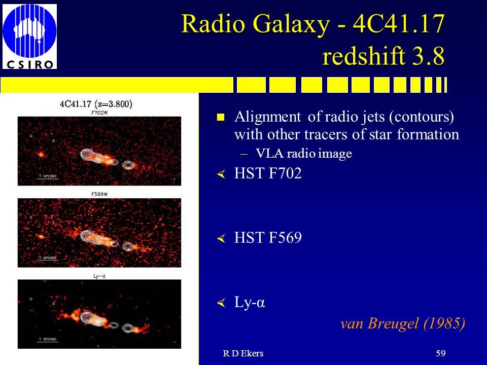13 July 05R D Ekers59 Radio Galaxy - 4C41.17 redshift 3.8 n Alignment of radio jets (contours) with other tracers of star formation –VLA radio image × HST F702 × HST F569 × Ly-α van Breugel (1985)