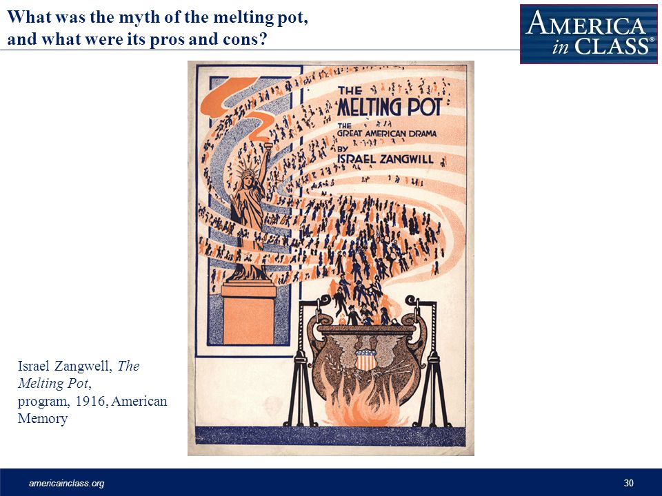americainclass.org30 Israel Zangwell, The Melting Pot, program, 1916, American Memory What was the myth of the melting pot, and what were its pros and cons