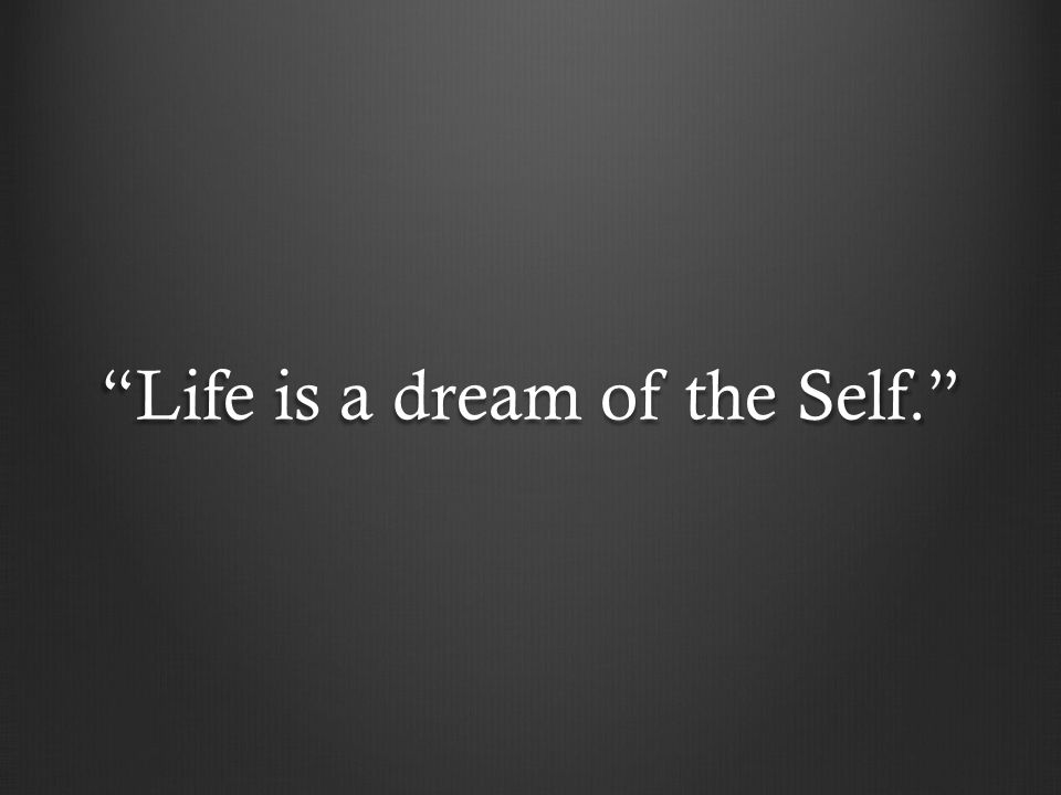 Life is a dream of the Self.