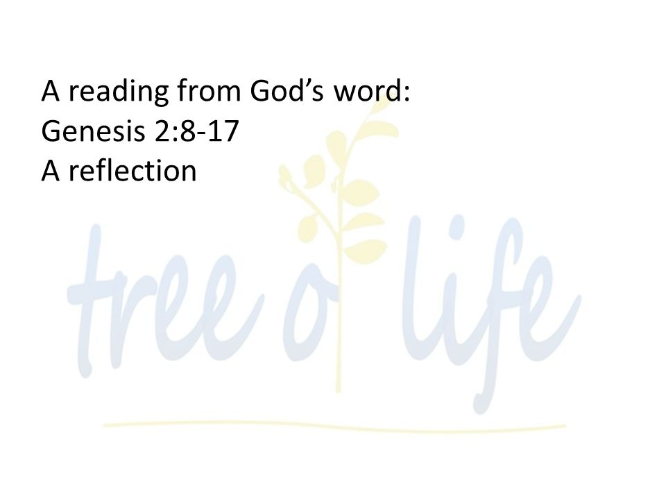 A reading from Gods word: Genesis 2:8-17 A reflection