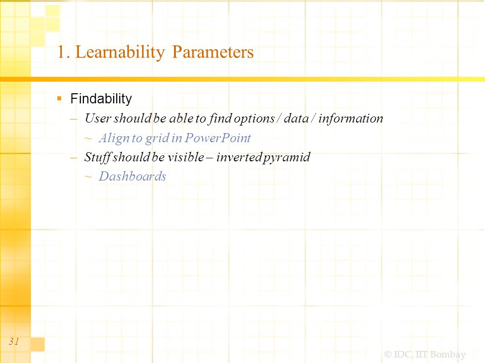 © IDC, IIT Bombay 31 1. Learnability Parameters Findability –User should be able to find options / data / information Align to grid in PowerPoint –Stu