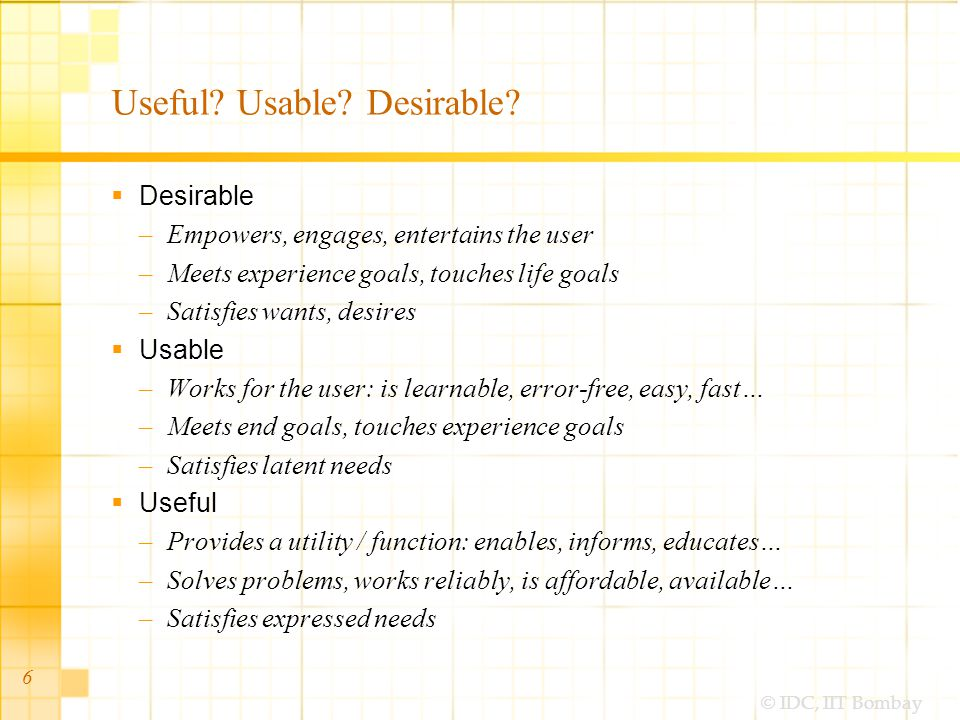 © IDC, IIT Bombay 6 Useful. Usable. Desirable.