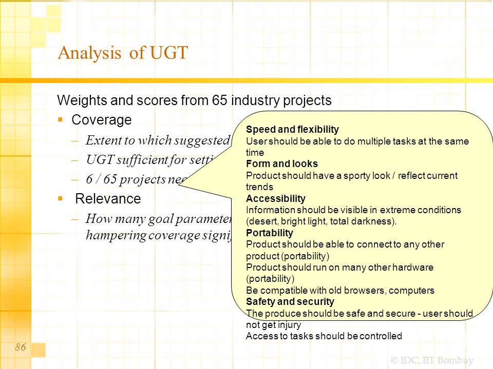 © IDC, IIT Bombay Analysis of UGT Weights and scores from 65 industry projects Coverage –Extent to which suggested goal parameters suffice –UGT sufficient for setting goals in 59 / 65 projects –6 / 65 projects needed additional goals Relevance –How many goal parameters could be removed from UGT without hampering coverage significantly 86 Speed and flexibility User should be able to do multiple tasks at the same time Form and looks Product should have a sporty look / reflect current trends Accessibility Information should be visible in extreme conditions (desert, bright light, total darkness).