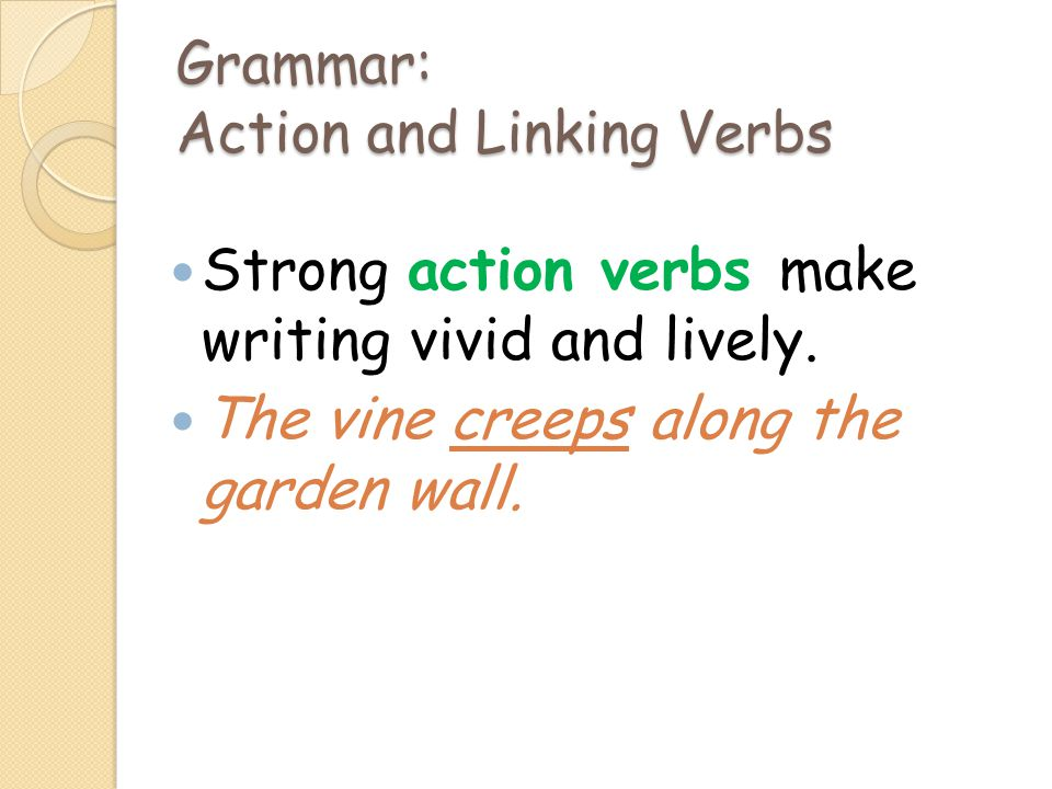 Grammar: Action and Linking Verbs Strong action verbs make writing vivid and lively. The vine creeps along the garden wall.
