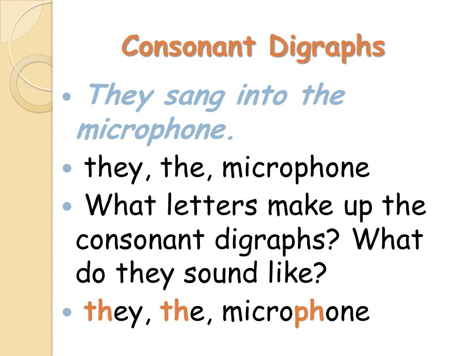 Consonant Digraphs They sang into the microphone. they, the, microphone What letters make up the consonant digraphs? What do they sound like? they, th