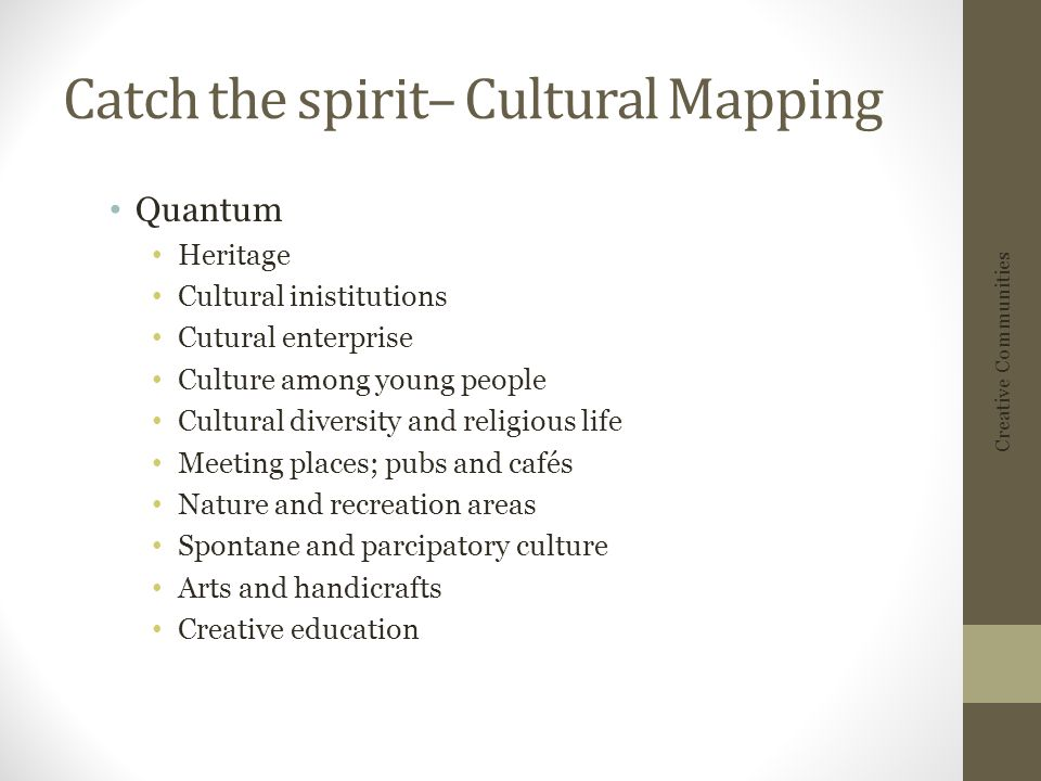 Catch the spirit– Cultural Mapping Quantum Heritage Cultural inistitutions Cutural enterprise Culture among young people Cultural diversity and religi