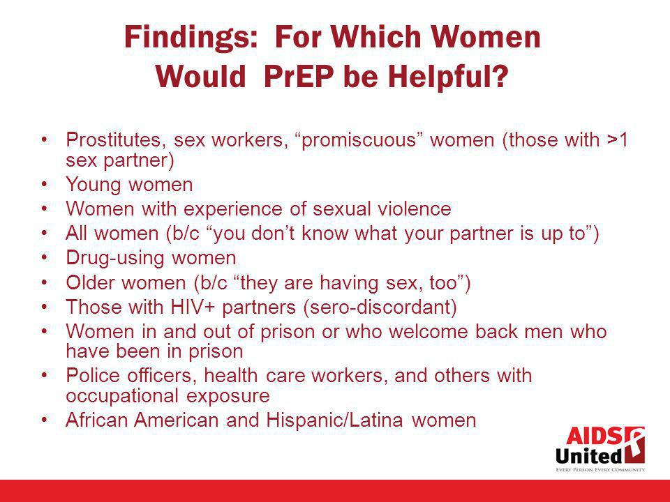 Findings: For Which Women Would PrEP be Helpful.