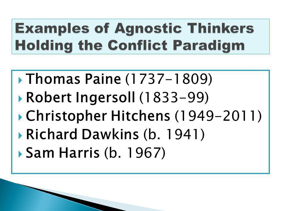 Thomas Paine (1737-1809) Robert Ingersoll (1833-99) Christopher Hitchens (1949-2011) Richard Dawkins (b.