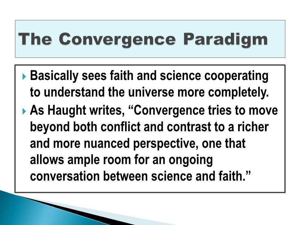 Some use of convergence, but mainly contrast. John Polkinghorne (b.