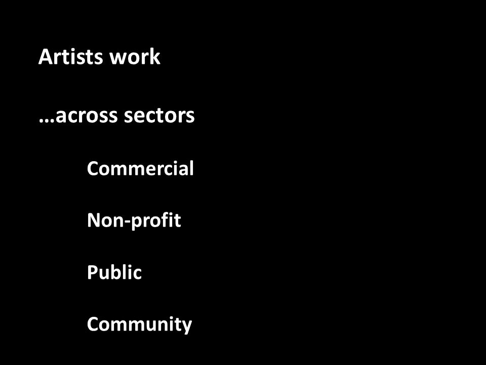 Artists work …across sectors Commercial Non-profit Public Community