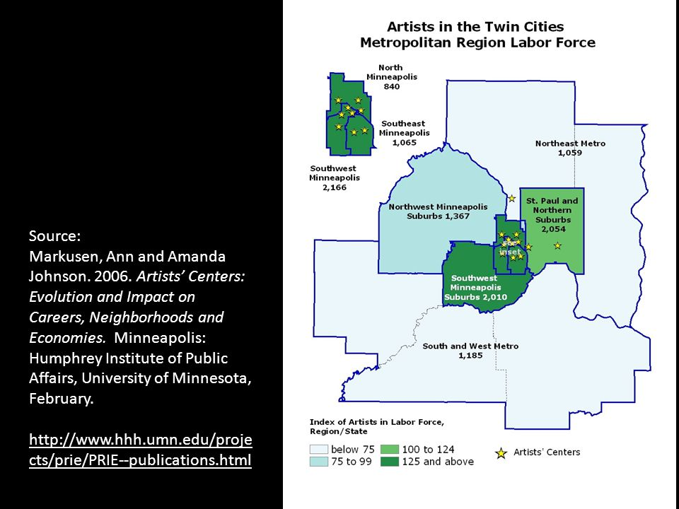 Source: Markusen, Ann and Amanda Johnson. 2006. Artists Centers: Evolution and Impact on Careers, Neighborhoods and Economies. Minneapolis: Humphrey I
