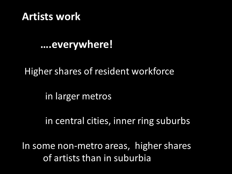 Artists work ….everywhere! Higher shares of resident workforce in larger metros in central cities, inner ring suburbs In some non-metro areas, higher