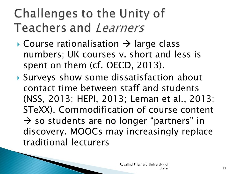 Course rationalisation large class numbers; UK courses v.