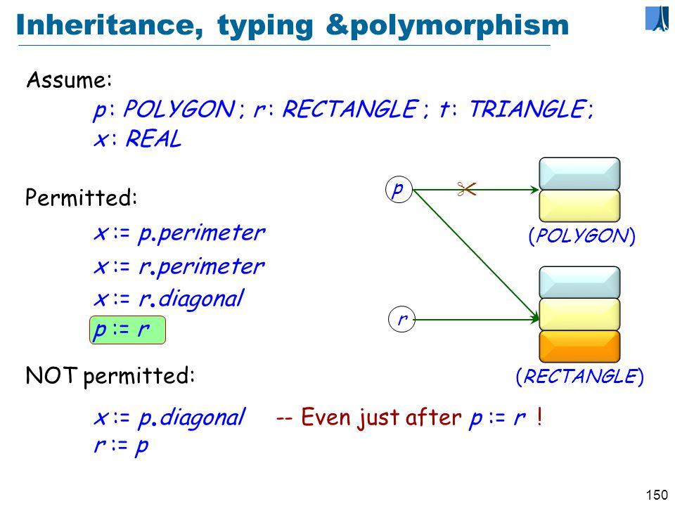 149 Redefinition 2: rectangles class RECTANGLE inherit POLYGON redefine perimeter end create make feature diagonal, side1, side2 : REAL perimeter : REAL -- Perimeter length do Result := 2 (side1 + side2) end invariant vertex_count = 4 end side1 side2 diagonal