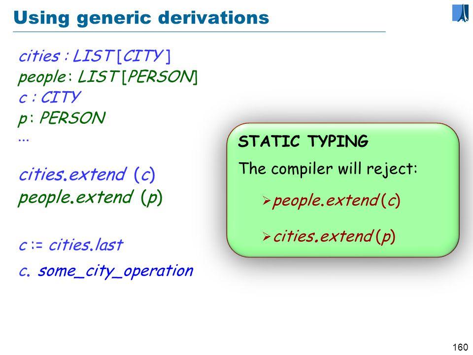 159 A generic class class LIST [G ] feature extend (x : G )...