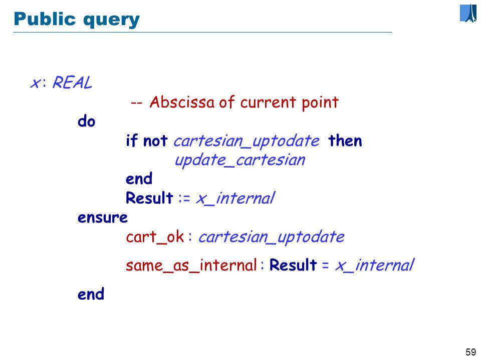 58 Updating representation: secret routine update_cartesian require polar_ok: polar_uptodate do if not cartesian_uptodate then internal_x := ro cos (theta) internal_y := ro sin (theta) end ensure cart_ok: cartesian_uptodate polar_ok: polar_uptodate end