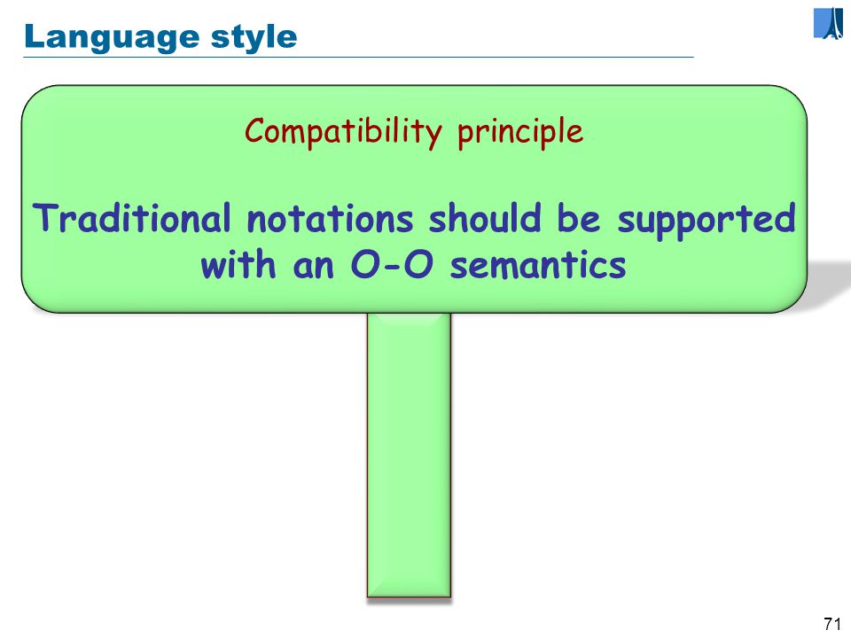 70 Language style Consistency principle The language should offer one good way to do anything useful