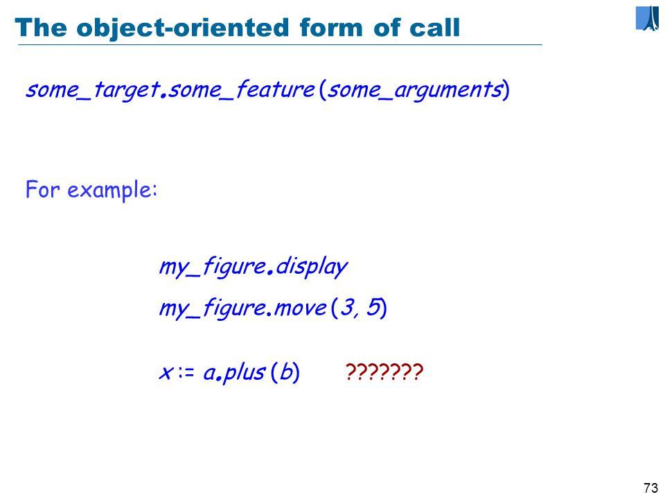 72 Infix and prefix operators In a b the operator is infix (written between operands) In b the operator is prefix (written before the operand)